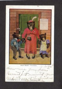 Austen Busy Bears School Closed Vacation Dressed Mother Cubs 1907 Postcard