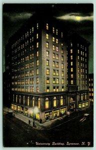 Syracuse NY~University Building Night Lights~Washington Street~Full Moon~1908