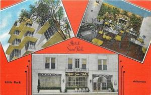 Little Rock AR~Hotel Sam Peck~Front View~Dining Room~1940s~Art Deco Postcard