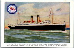 Vintage GREAT NORTHERN PACIFIC STEAMSHIP CO. Postcard Portland - S.F. c1910s