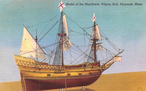Model of the Mayflower Plymouth, Massachusetts Postcard