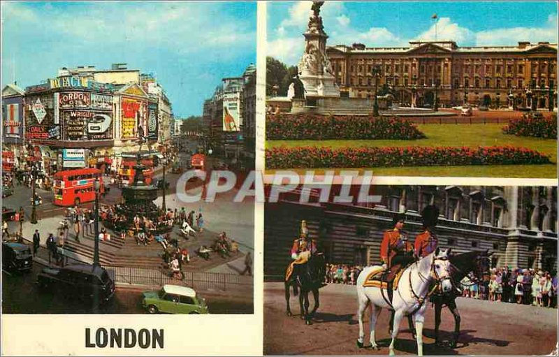 Modern Postcard London Piccadilly Circus Buckingham Palace HM The Queen And H...