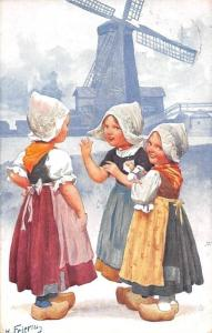 Netherlands Dutch Girls Costumes Doll, Windmill, H. Feiertag 1910s