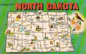 Map Of North Dakota 1964