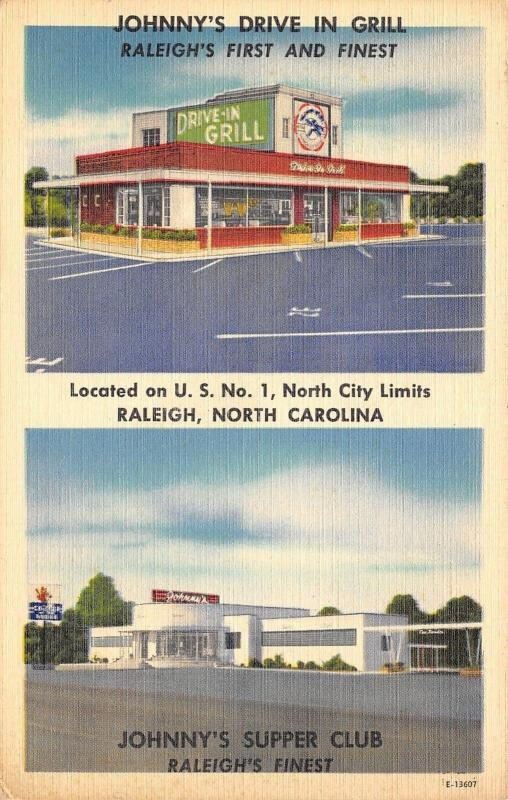 Raleigh NC~Johnny's Drive In Grill~ART DECO Supper Club~1950 Linen Postcard
