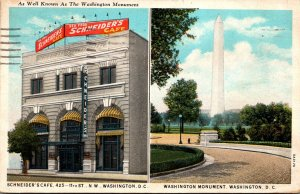 Washington D C Schneider's Seafood Cafe & Washington Monument 1934