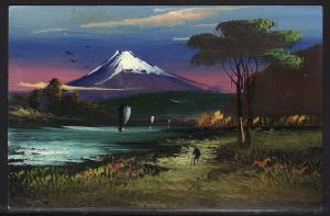 Circa 1907 Japan 3 hand painted oil or acrylic art on postcard STUNNING!!