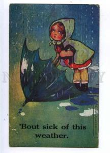 187191 Girl w/ Umbrella RAIN by Agnes RICHARDSON Vintage PC