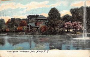 Albany New York~Washington Park-Lake House & Fountain~1906 Illustrated Pc Co
