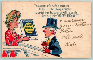 Happy Thought Chewing Tobacco~Advertising Comic~Secret of Wife's Success~1906
