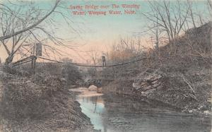 Weeping Water Nebraska~Man on Swing Bridge Over Creek~Handcolored 1912 Postcard