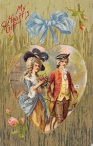Valentine~Regency Couple in Heart~Moss Roses on Gold Leaf Grass Back~Emb~Winsch