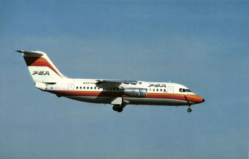 PSA PACIFIC SOUTHWEST AIRLINES, British Aerospace BAe 146-200A 1980s BUCHairCARD