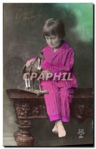 Old Postcard Child Hobby Horse