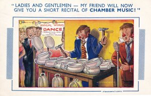Factory Annual Dinner & Dance Office Party Musician With Tools Comic Postcard