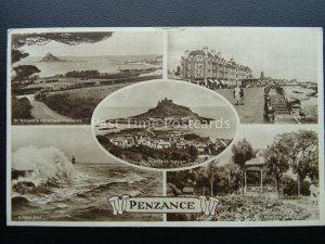 Cornwall PENZANCE 5 Image Multiview c1945 Postcard - Churchill Quote on Reverse
