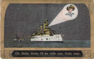 Romance, Battleship Projects Picture of Sweetheart Dolly Vintage Used Postcard