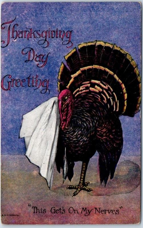 Vintage THANKSGIVING Comic Postcard Turkey This Gets on My Nerves 1909 Cancel