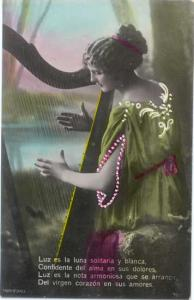 Colorized RP Woman With a Harp & Poem