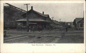Chester VT RR Train Station Depot 1909 Used Postcard