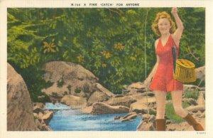 Blonde Girl Fishing A Fine Catch Linen Postcard