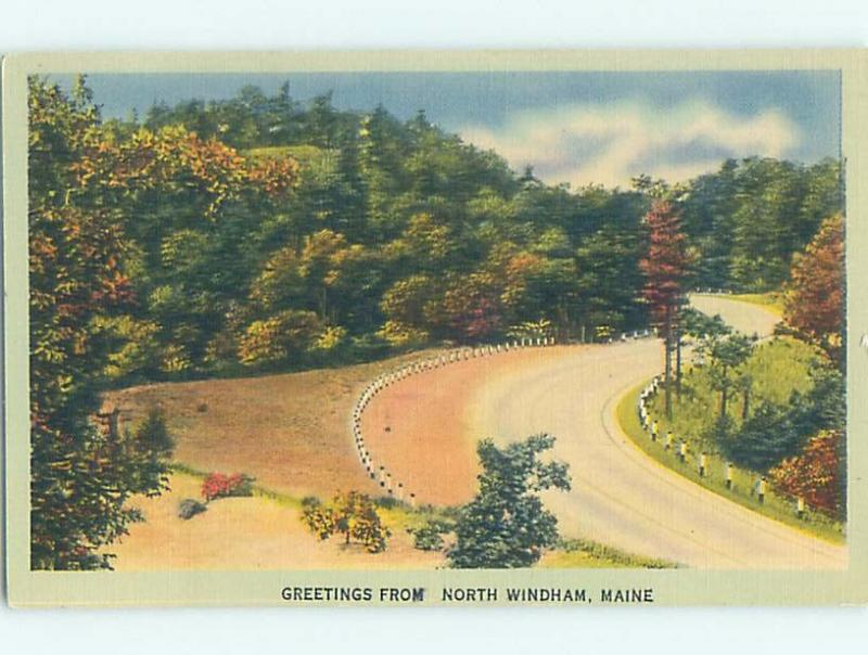 Linen GREETINGS FROM POSTCARD North Windham Maine ME ho5916