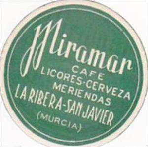 SPAIN LA RIBERA SAN JAVIER MURCIA MIRAMAR CAFE VINTAGE LUGGAGE LABEL