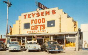 Mackinaw City MI~Teysen's Food & Gifts~Roadside Diner~Indians on Roof~1950s Cars