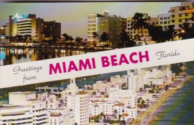 Florida Greetings From MIami Beach Fabulous Hotel Row