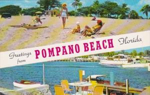 Florida Greetings From Pompano Beach Showing Beach Scene