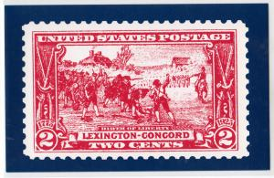 Card with Pictures of US 2c Stamp - Lexington-Concord