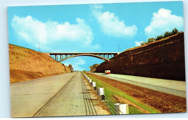 Skyline Or Arch Bridge Spanning Ohio Turnpike Highway Vintage