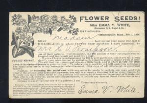 MINNEAPOLIS MINNESOTA 1896 POSTAL ADVERTISING POSTCARD SEED FARMING CRYSTAL