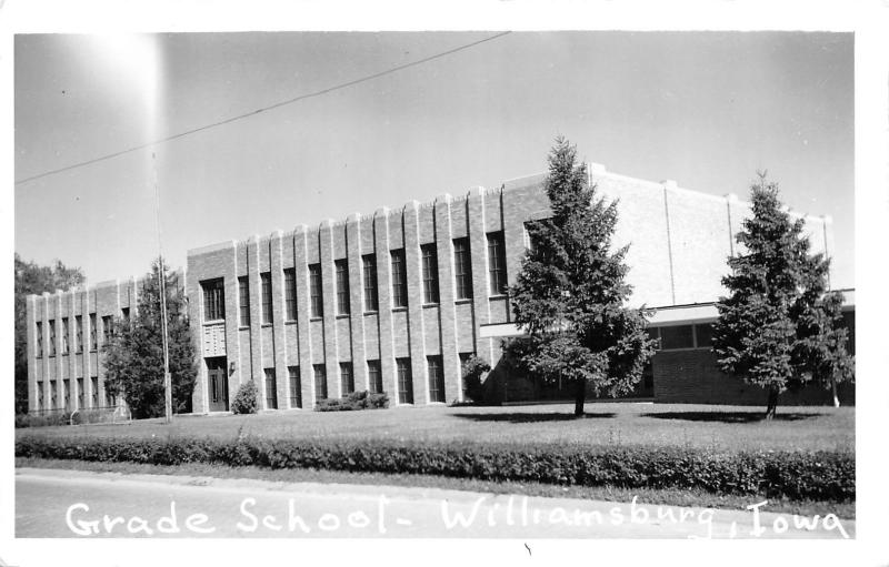 Williamsburg IA Karen's Children Attend then Art Deco Grade School~RPPC 1950s PC