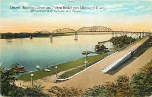 Lyons Fulton Illinois~Bridge Over Mississippi to Clinton IA~Ramp~Boats~1915 PC