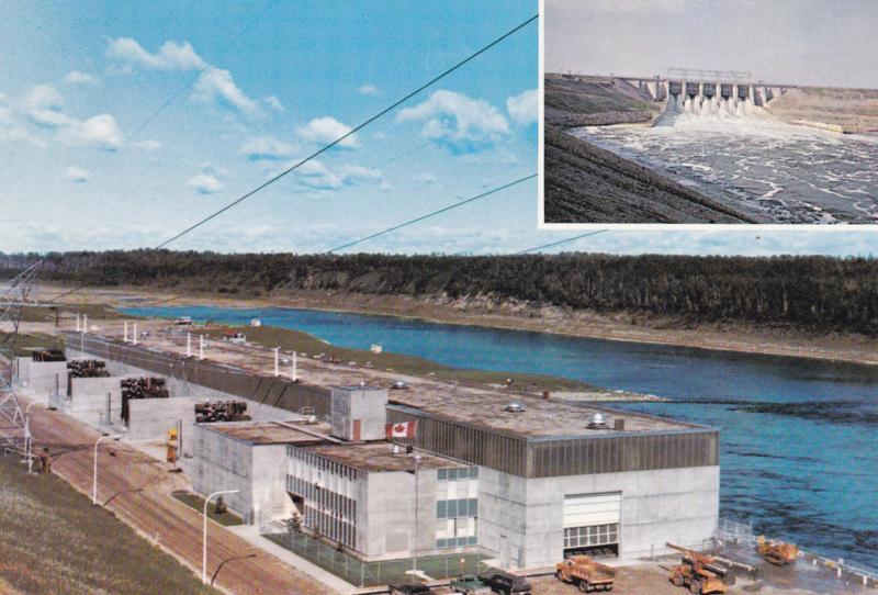 Near NIPAWIN, Saskatchewan, Canada, 1950-70s; 2-Views, Squaw Rapids Hydro-Ele...