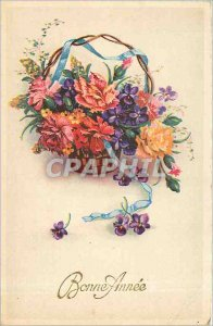 Old Postcard Happy New Year Flowers