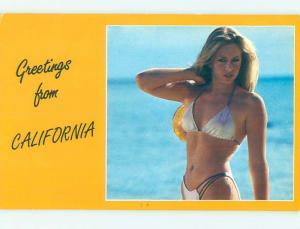Pre-1980 Risque CLASSIC CALI BLONDE BIKINI GIRL state of California hn1949