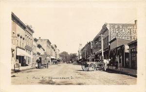 Mechanicsburg OH Main Street View Storefronts Horse & Wagons RPPC Postcard