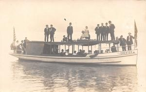 Chester Excursion Boat~Guests Below~Folks on Roof~US Flag~1914 Real Photo~RPPC
