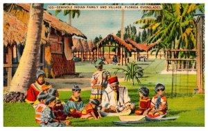 Seminole Indians Family and Village  Everglades Florida