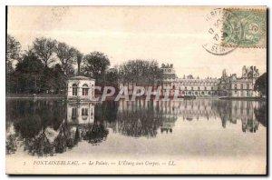 Old Postcard Fontainebleau Palace L'Etang to Carp
