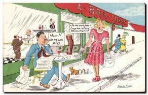 Humor - Illustration - I'm not too late - Old Postcard