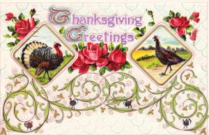 Thanksgiving 1911  Turkeys - Embossed