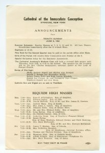Cathedral of the Immaculate Conception Syracuse NY Announcements June 8, 1952