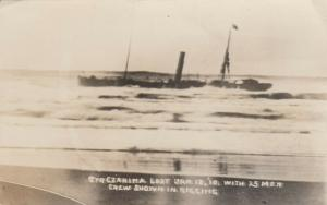 RP: MARSHFIELD  , Oregon , 1910 ; Shipwreck of CZARINA, men in rigging, #3