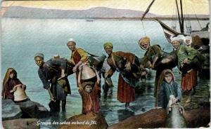 PORT SAID?, Egypt   GROUP  Gathering WATER from NILE River  c1910s  Postcard