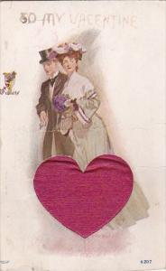Valentine's Day Romantic Couiple With Embroidered Red Heart 1907