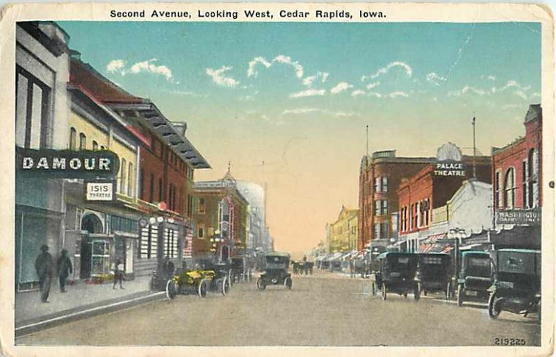 Second Ave Looking West, Cedar Rapids, IA, Iowa, White Border ,