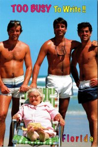 Postcard FL Florida Too Busy To Write Humor Swimsuit Men Retired Woman Beach